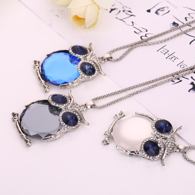 Vintage Owl Design Rhinestones Crystal Pendant Necklaces 4