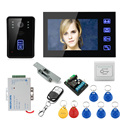 """Cheap 7"""" Wired Color Video Door Phone Intercom System+Electronic Door Lock+Exit Button+Electric Strike Lock+Remote Controller"""