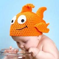 Lovely Cartoon Goldfish Design Infant Baby Boys Girls Crochet Handmade Knitted Hat Photography Props 1 Pcs