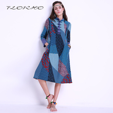 2017 Autumn Winter Midi Dress Retro Long Sleeve Flowers Print Dresses Boho Robe Women Casual Loose Shift Dress Vestido Plus Size