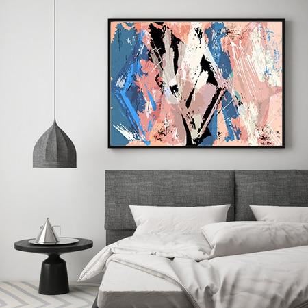 Wanddecoratie Op Doek.Hd Doek Lente Roze Blauw Abstract Picture Art Foto Wanddecoratie