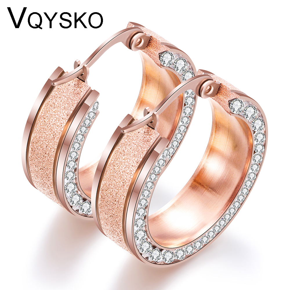 Gold Rose Gold Stainless steel Earring for Women Round White Crystal Cubic Zirconia Hoop Huggies Earrings for Women