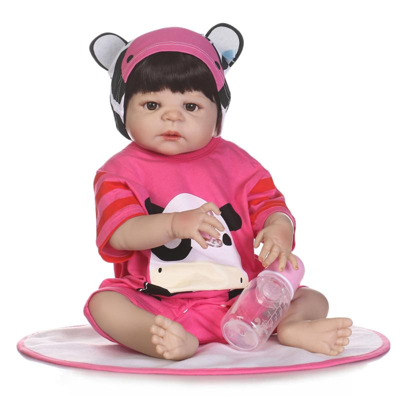 57CM full body silicone reborn dolls girl doll reborn babies blond hair magnetic mouth bath dolls children gift bonecas цена