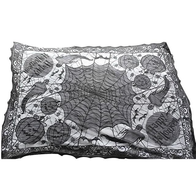 60*80inch Lace Black Spider Web Tablecloth Tablecover Rectangle Halloween  Party Decor