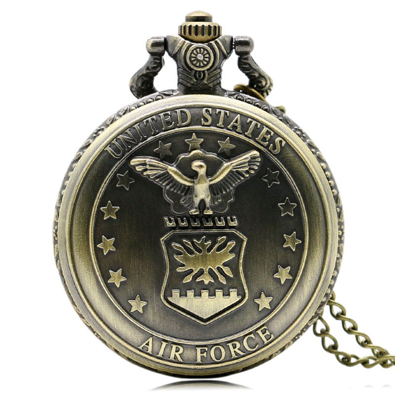 Bronze Air Force Eagle Stars Quartz Pocket Watch Necklace Pendant Mens Gift P103
