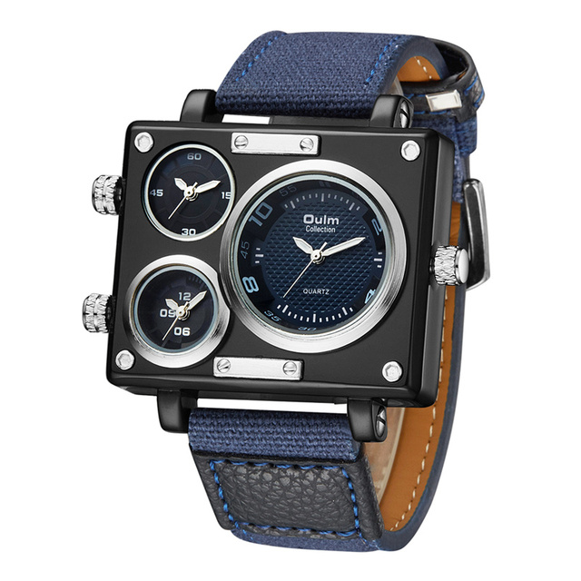 87397b5ef57 Oulm Denim Blue 3 Time Zone Watches Men Top Luxury Brand Canvas Square Big  Dial Quartz Clock Male Sport Wrist Watch relogio