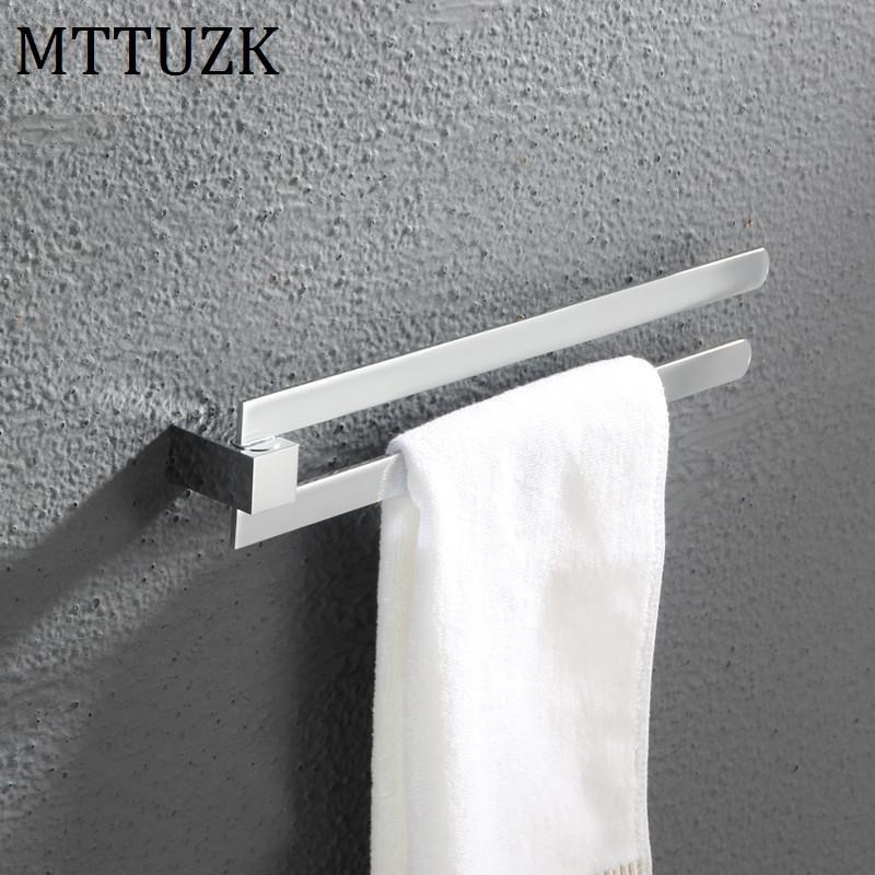 MTTUZK solid brass rotating towel rack bathroom chrome plated activity towel bar bathroom double bar towel hanging free shipping диски helo he844 chrome plated r20