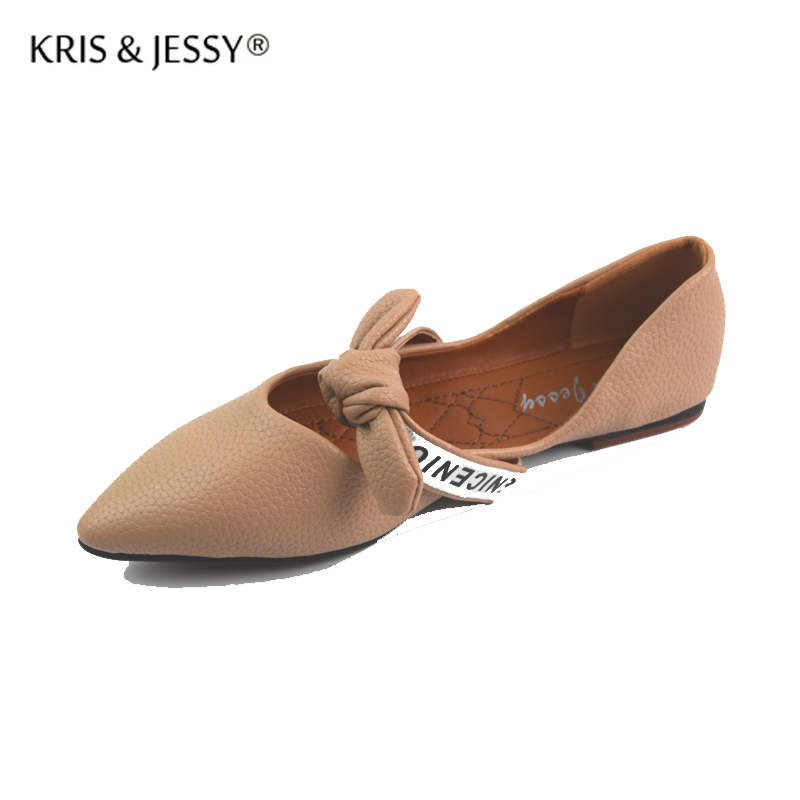 Pointed Toe Flats Shoes Women Slip-On Comfortable Single Sweet Bow Tie Flats Spring Autumn Women Shoes Size 36-40 Zapatos Mujer akexiya spring fashion women shoes pointed toe slip on flat shoes woman comfortable single casual flats size 35 39 zapatos mujer