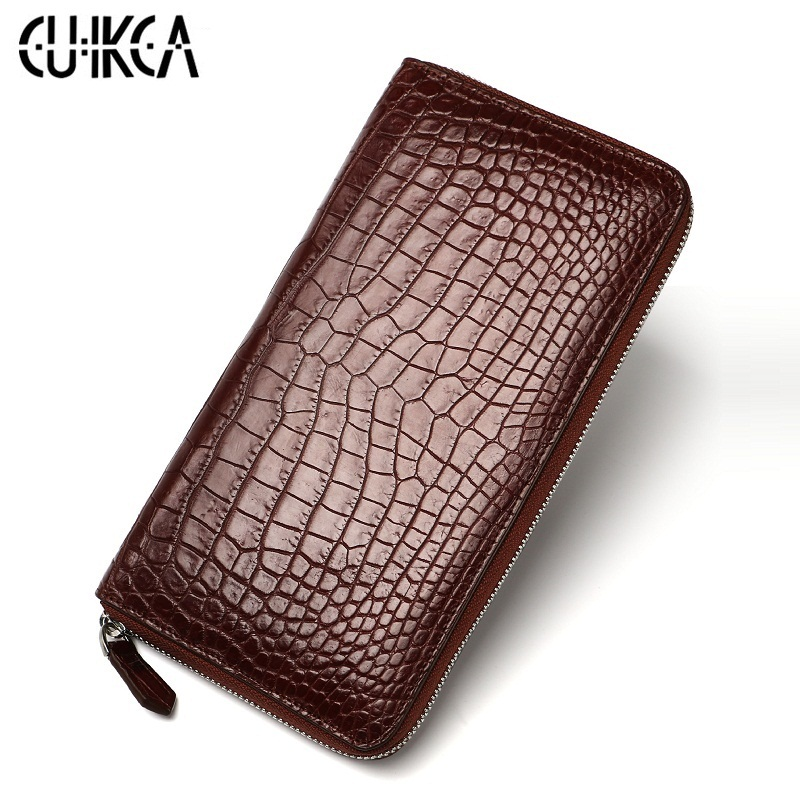 crocodile skin Wallet, new genuine leather business handbag,Classic leather purse,crocodile skin men's zipper wallet, men wallet цена