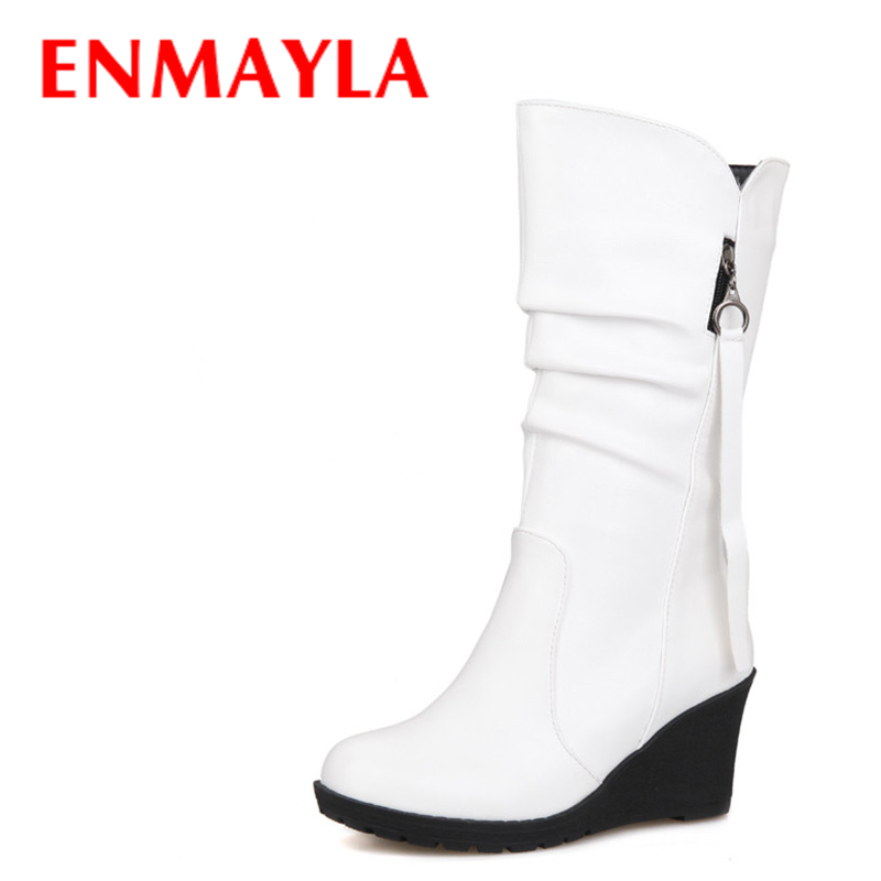 ENMAYLA Fashion Winter Women Boots Shoes Woman Spring/Autumn Warm Fur Boots Chains Mid calf Boots Sexy Women Shoes Big Size