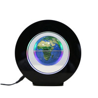 2W Novelty Round LED World Map Floating Globe Magnetic Levitation Light Antigravity Magic Lamp bola de plasma Dec plasma ball EU