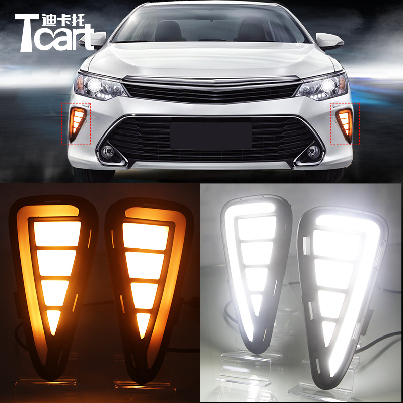 Tcart 1set New Car LED DRL For Toyota Camry 2009-2011 Daytime Running Lights White Daylights Waterproof With Yellow Turn signals 1set car accessories daytime running lights with yellow turn signals auto led drl for volkswagen vw scirocco 2010 2012 2013 2014
