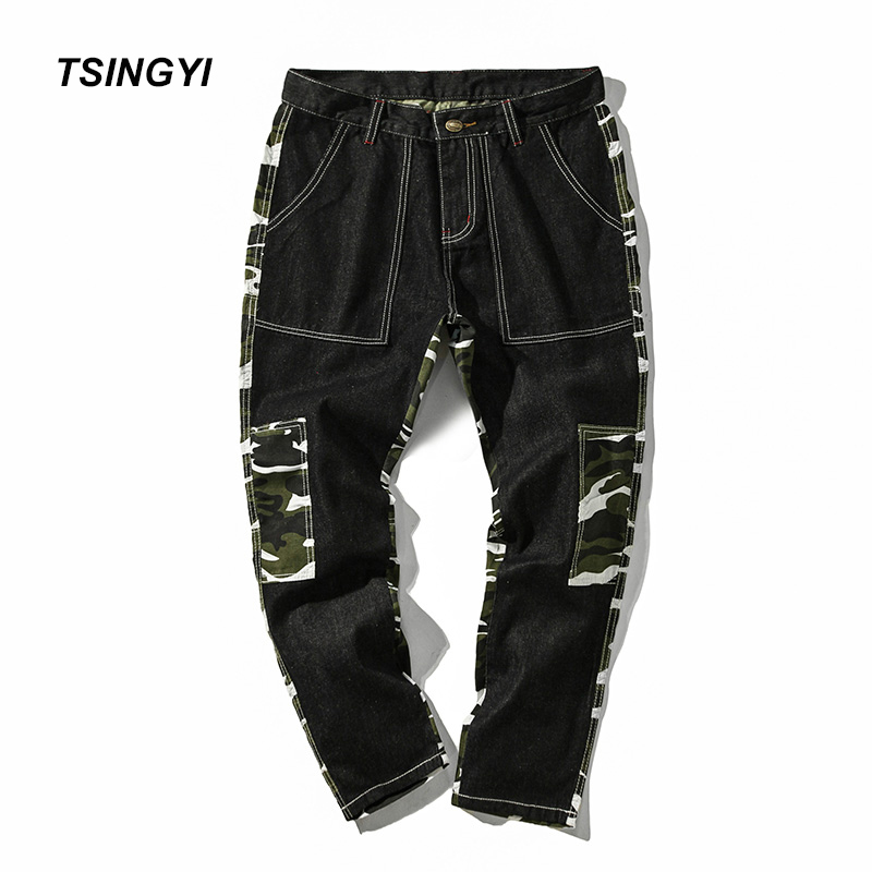 Tsingyi Camouflage Patchwork Denim Jeans Men Homme Casual Straight Pants Mid Waist Long Length Mens Trousers Plus Size M-5XL new 2017 fashion mens skinny jeans lager size stretch denim pants men casual slim brand pants mid waist long trousers men z928