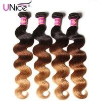 UNice Hair Company Ombre Brazilian Hair Body Wave Bundles Color 1B 4 27 Three Tone Human