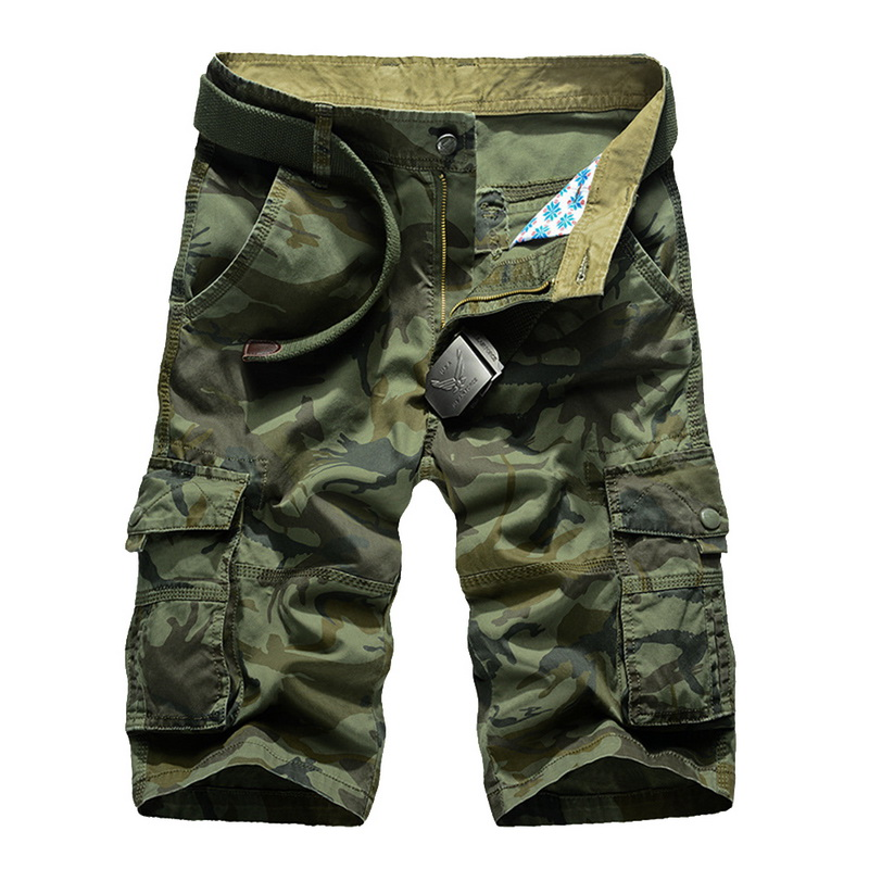 Vertvie Summer Men Running Shorts Multi-pocket Camouflage Printed Mens Shorts Fitness Loose Knee-length Mens Cargo Shorts NoBelt