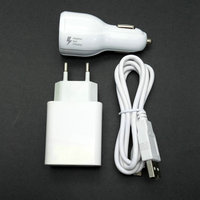 2 4A EU Travel Wall Adapter 2 USB Output Micro USB Cable Car Charger For Xiaomi