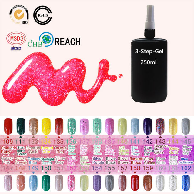 Sunrim 3d gel nail polish Glitter decoration 162 colors long-lasting soak off led uv gel polish 250ml hot uv gel varnish