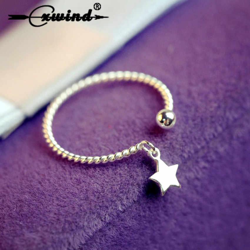 Cxwind горячее уникальное дизайнерское кольцо со звездами, Стерлинговое 925 серебряных колец, звезды, витые Открытые Кольца для девушек, Женские Подарочные модные аксессуары