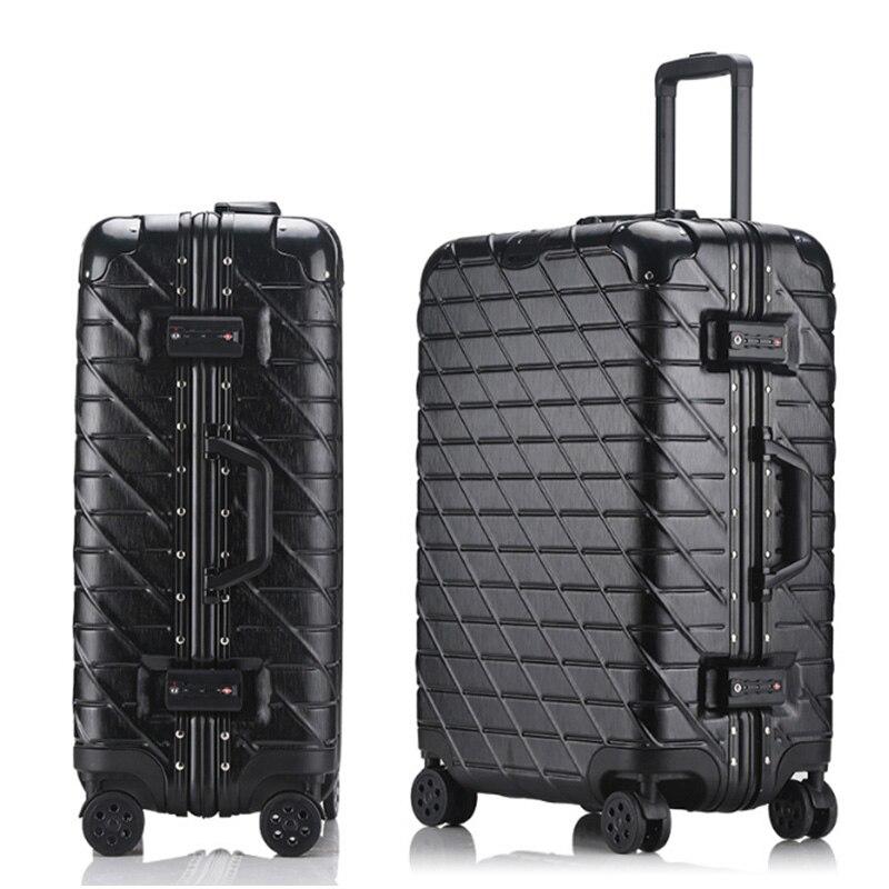 20''22''24''26''29'' classique bagage à roulettes cadre en Aluminium chariot solide voyage cabine femmes embarquement valise à main