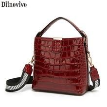 DIINOVIVO Retro Alligator Pattern Bucket Female Bag Patent Leather Bags For Women Bag Handbag Small Shoulder Bag Wallet WHDV1157