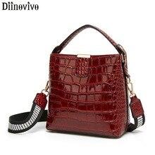 DIINOVIVO sac rétro pour femmes, sac seau en cuir verni, petit sac à bandoulière, portefeuille WHDV1157