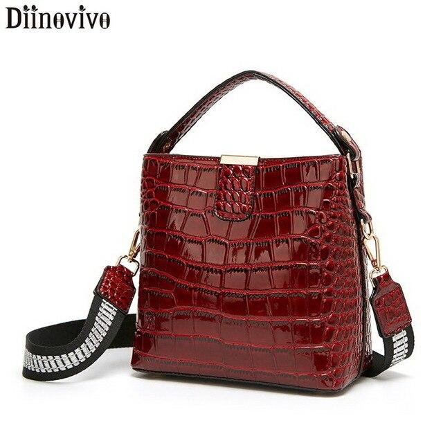 Diinovivo retro jacaré padrão balde bolsa feminina sacos de couro patente para as mulheres bolsa pequena bolsa de ombro carteira whdv1157