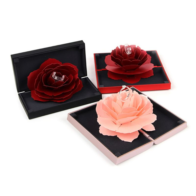 Ring Box Lift Rotation Creative Case For Jewelry Rose 3D Handmade Storage Portable Carrier Professional For Gifts Wedding