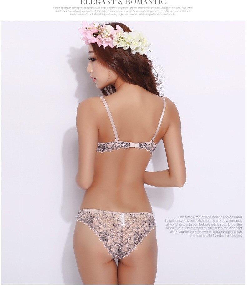 TAINY חדש סאטן תחרה V עמוק לדחוף נשים הלבשה תחתונה-תחתונים, תחתוני פוש אפ קצר סטים