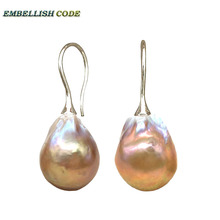 simple big size baroque pearl flame ball style hook earring purple gold color natural pearls 925 Sterling silver for lady