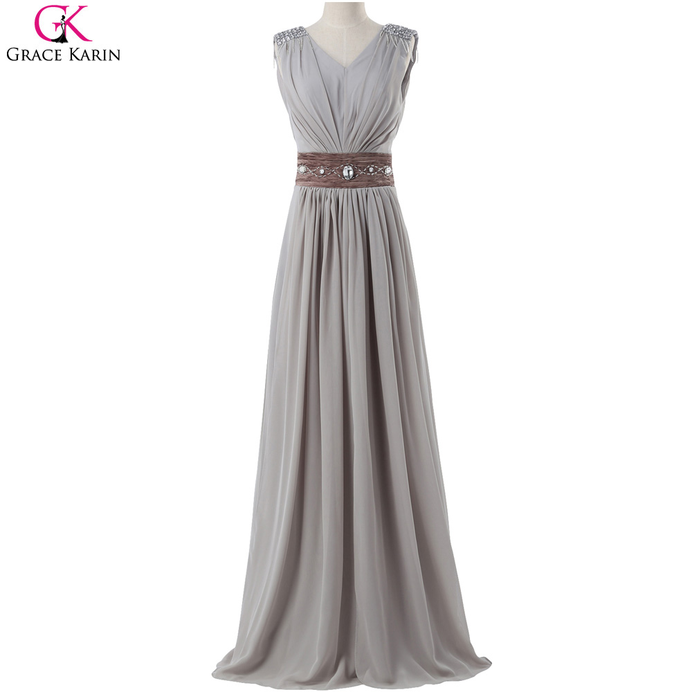 Grace Karin Chiffon Bridesmaid Dress Sleeveless V Neck Crystal Grey Turquoise Red Long Formal Gowns Elegant Wedding Party Dress