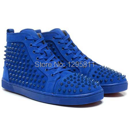 29ffdeff47fb Red Bottom Men Shoes LOUIS SPIKES HIGH TOP BLUE SUEDE FLAT SNEAKERS ...