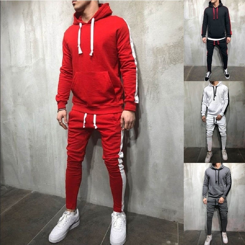 ZOGAA 2019 Brand Men Tracksuit Casual Sportswear Mens Sweat Suit 2 Piece Tops And Pants Set Fashion Outfits For Men Clothing