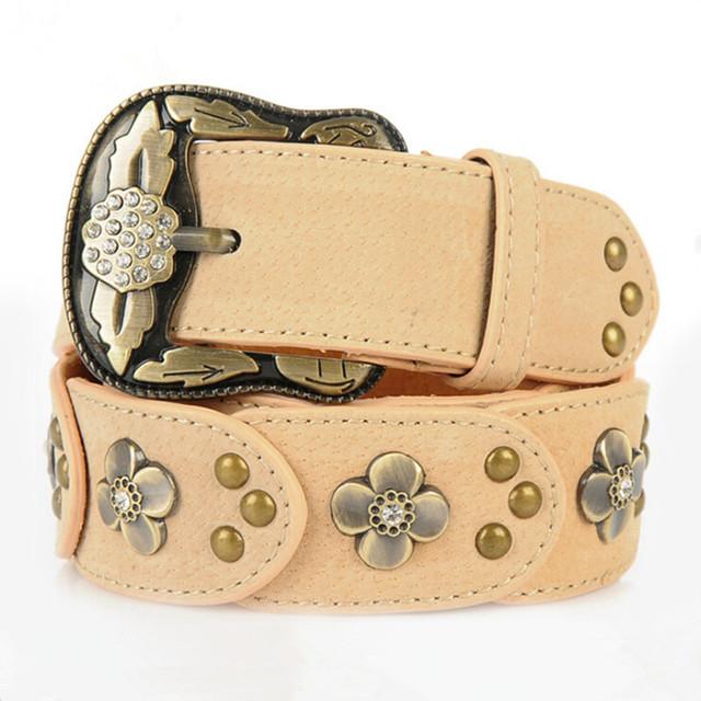 Diseñador Famosa Marca de Lujo Mujeres de La Correa 2017 Nueva Piel de Vaca Rhinestone de la Aleación Pin Hebilla Cinturones de Moda Salvaje de La Cintura Femenina Correa Q279