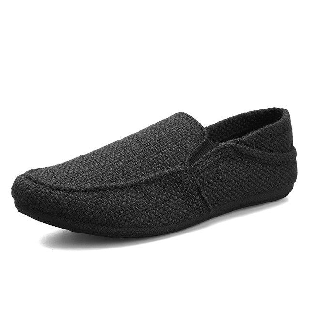 Homens sapatos de lona mocassins apartamentos masculino sapatos de linho tênis casuais moda deslizamento ons leve respirável coreano