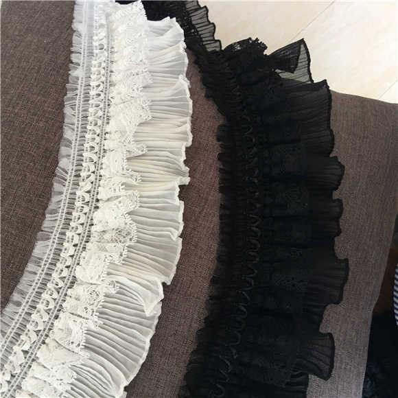 9cm szerokości nowa biała czarna elastyczna koronka wykończenie tkaniny kołnierz ze wstążką DIY aplikacja do szycia kwiat haftowany przewód suknia ślubna wystrój