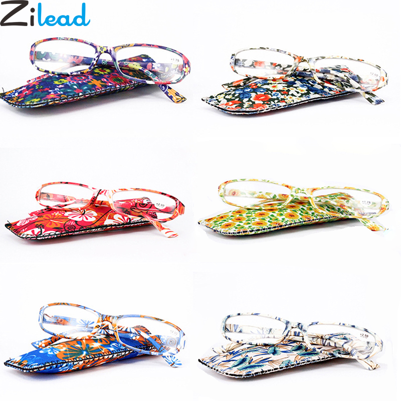 Zilead Ultralight Lady's Printing Reading Glasses Women Spring Hinge Clear Lens Presbyopic Glasses Eyewear With Matching Pouch