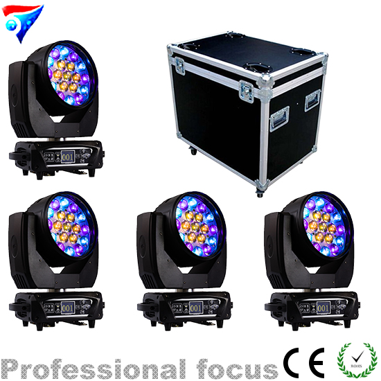Free Shipping 4pcs/lot Flightcase 2018 New 19x12W RGBW 4in1 Led Wash Beam Zoom Moving Head Light With Circle And Macro Effect