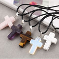 2016The cross shaped geometric Pendant Necklace female Amethyst turquoise necklace rope fashion jewelry