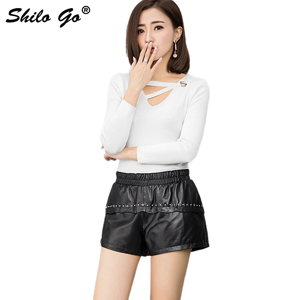 Leather Shorts Womens Spring Fashion Sheepskin Genuine Leather Shorts Stretch High Waist Front Metal Rivet Loose Shorts