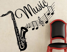 Personality creative design saxophone music wall stickers bedroom room decoration vinyl YY10