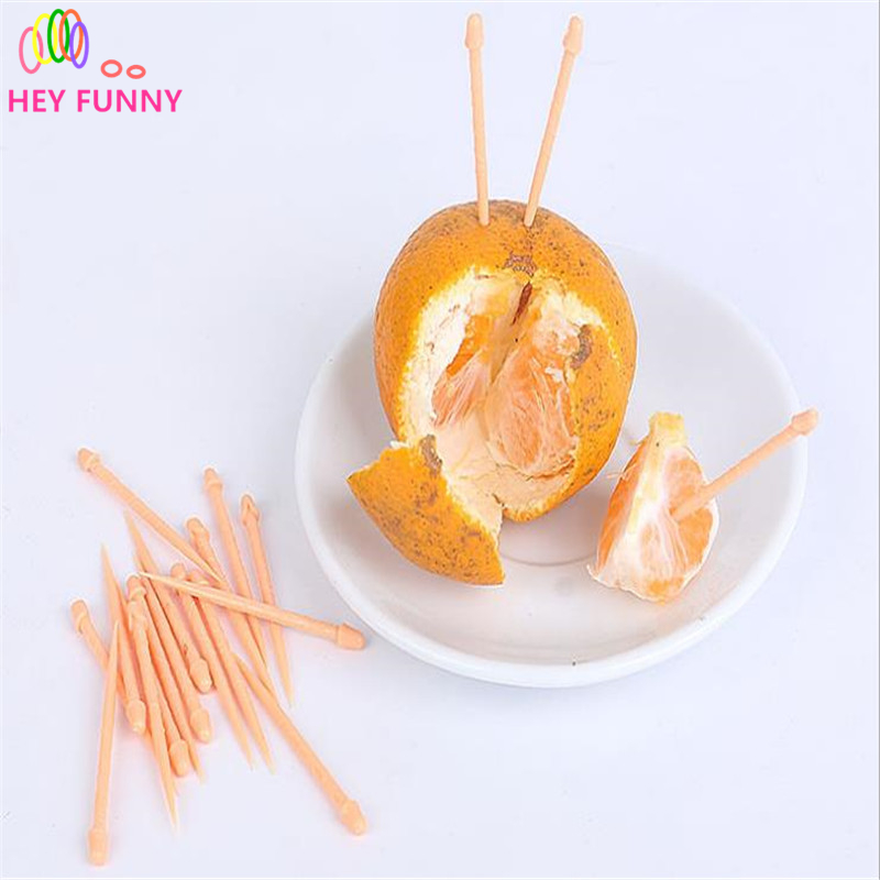 20pcs/pack Funny Penis Toothpick Trick Cute Dick Plastic Fruit Valentines Day Party Bar Tableware Forks Dessert Decoration