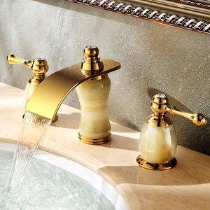 Позолоченный 8-дюймовый широко распространенный кран для раковины в ванной комнате из 3 предметов, смеситель для раковины, кран из нефрита с ...