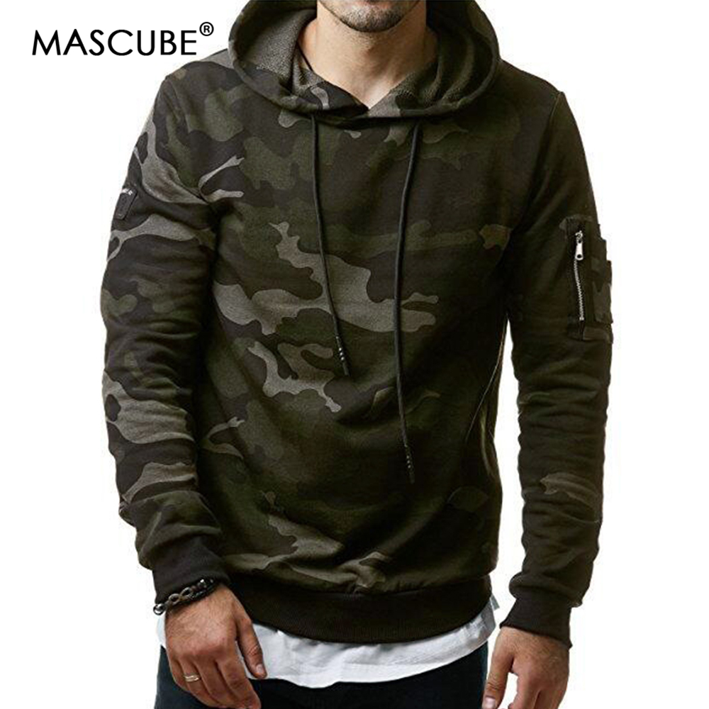 Mascube Camouflage Males Informal Units 2018 New Sweatshirt Male Camo Hoody Hip Hop Autumn Winter Fleece Army Hoodie Plus Dimension