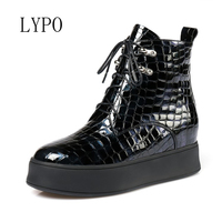 LYPO 2017 Europe Women Shoes Genuine Leather Ankle Boots Wedges Waterproof High Heeled Lace Up Side