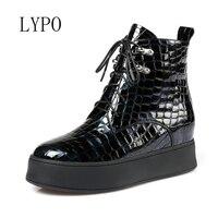 LYPO 2017 Europa Zapatos de Las Mujeres Botines de Cuero Genuinos Cuñas Impermeables de Tacón Alto Con Cordones Cremallera Lateral zapatos de Suela gruesa Cargadores de las mujeres