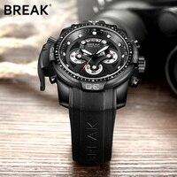 BREAK Men Luxury Brand Man Sports Watch Quartz Military Wristwatch Black Silicone Multifunction Chronograph Date Watches 5601