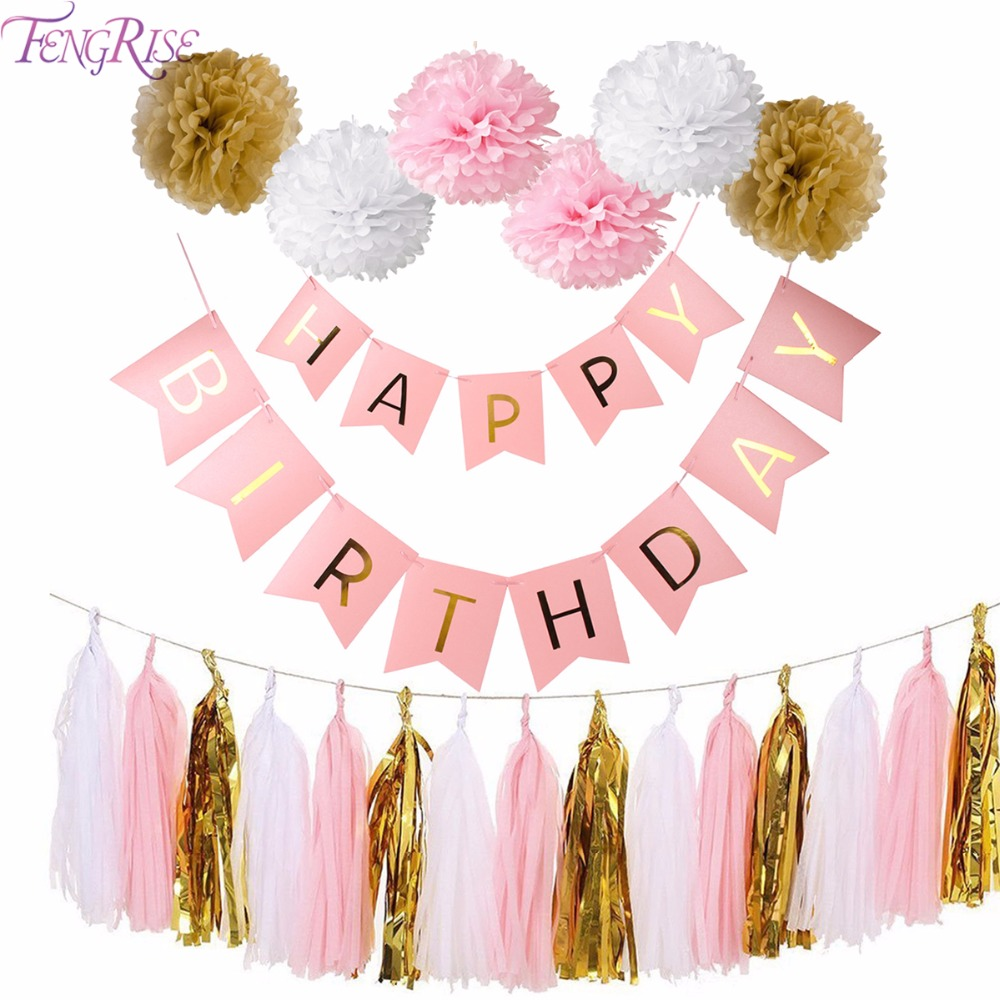 FENGRISE Pink Happy Birthday Banner White Tissue Paper Tassel Garland Pompom Birthday Decorations Girl Boy Kids Party Favors цена