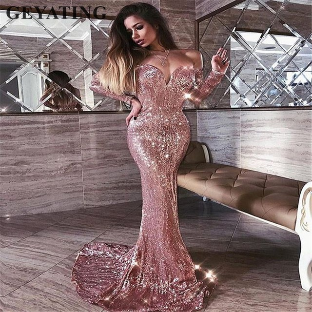 58a5c930255 Rose Gold V-neck Off Shoulder Sequin Mermaid Prom Dresses with Long Sleeve  Navy Blue Evening Gown Maxi Women Party Formal Dress