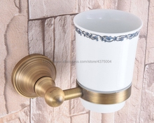Bathroom Cup Holder Antique Brass Ceramic Single Rack Accessories Nba166