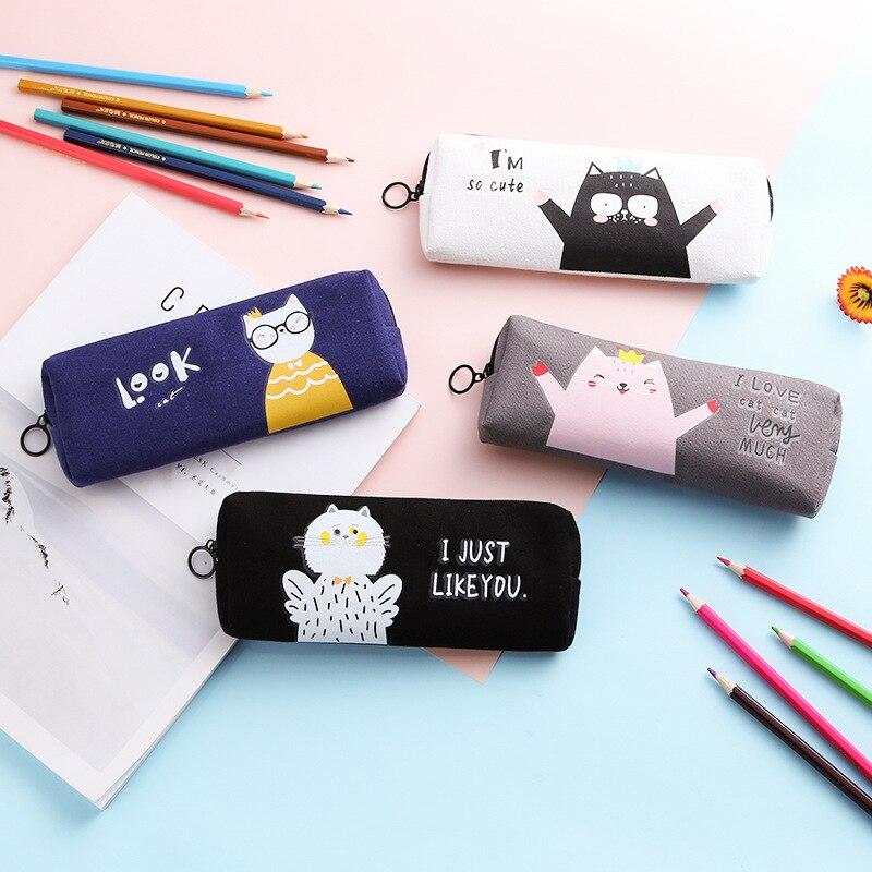 Cat Pencil Case Kawaii School Supplies Simple Estuche Escolar Trousse Scolaire Stylo Pencilcase Pencil Box School